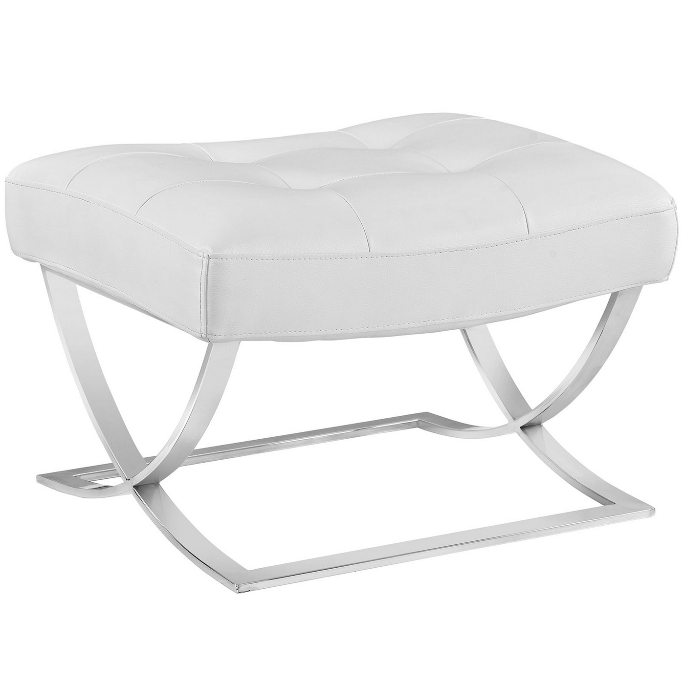 Slope Modern Button Tufted Vinyl Ottoman With Chrome Base