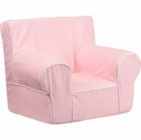 Small Light Pink Dot Kids Chair with White Piping