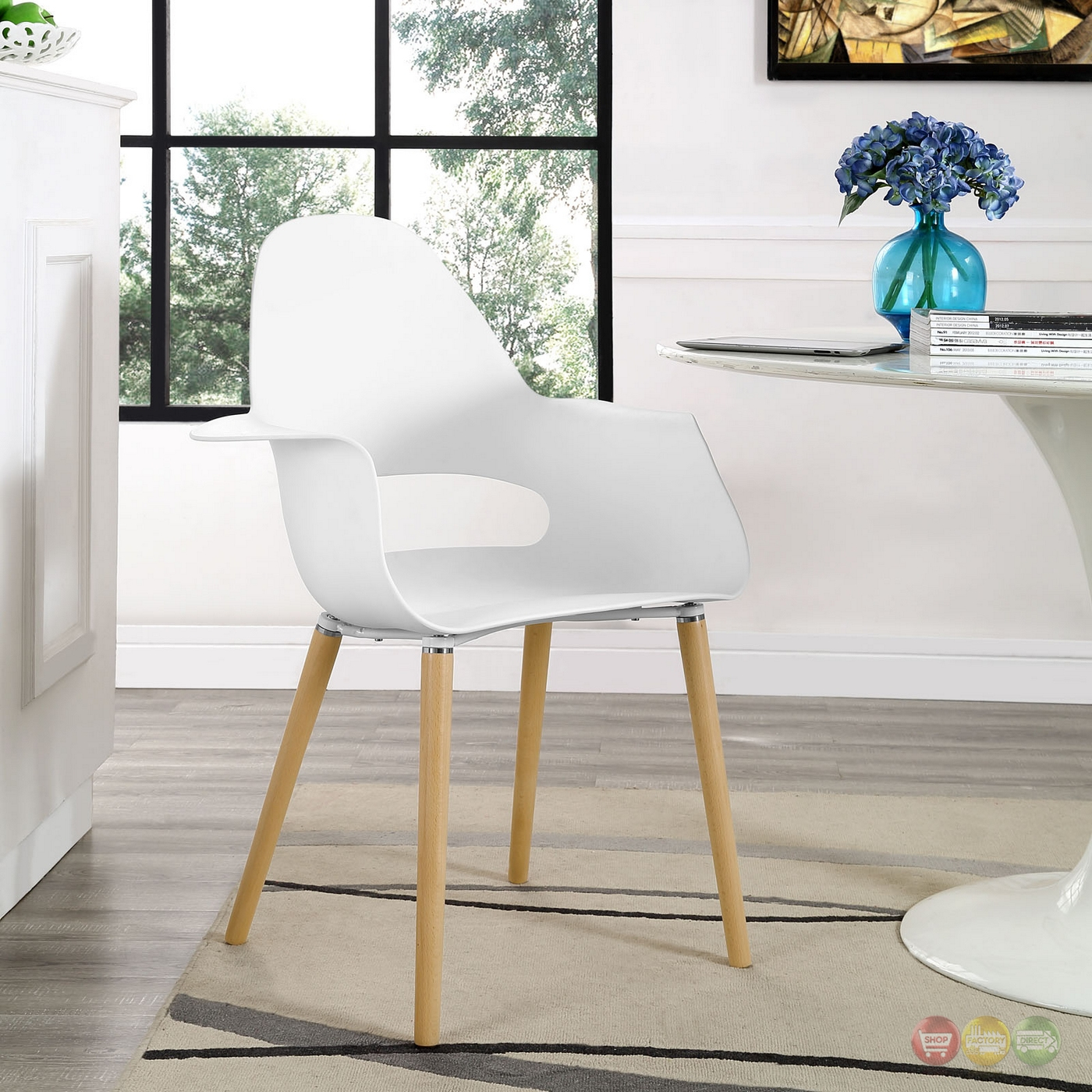 Soar Modern Hard Plastic Dining Armchair With Wooden Legs ...