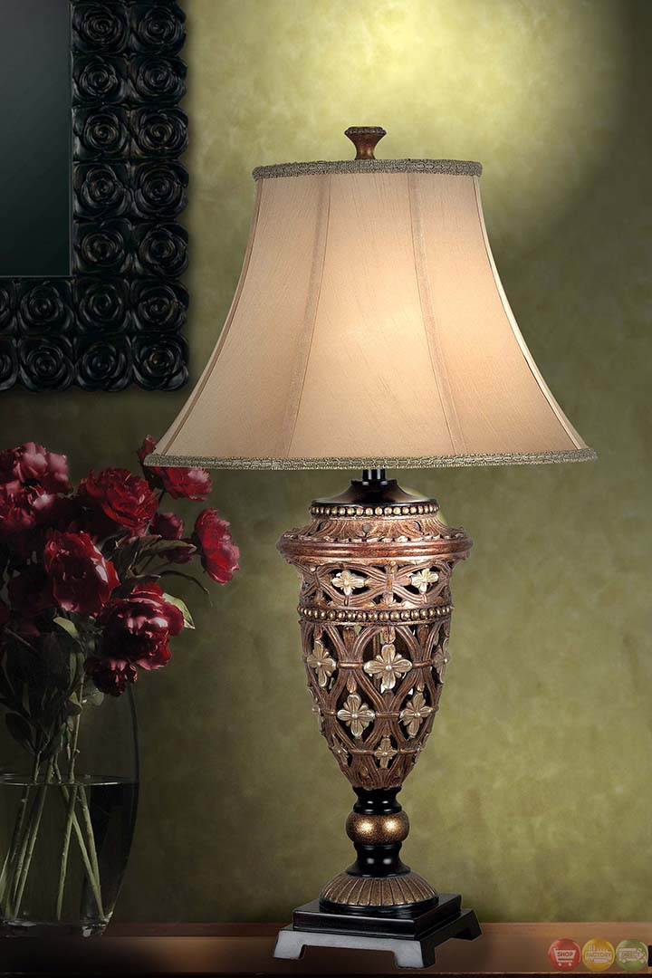 Sofie Gothic Ethos Bell Shade Golden Bronze Table Lamp