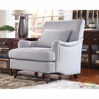Soft Grey Accent Chair With Saddle Arms And Turned Legs