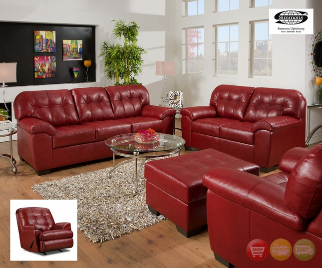 Soho Cardinal Contemporary Tufted Red Bonded Leather Living Room Set Simmons