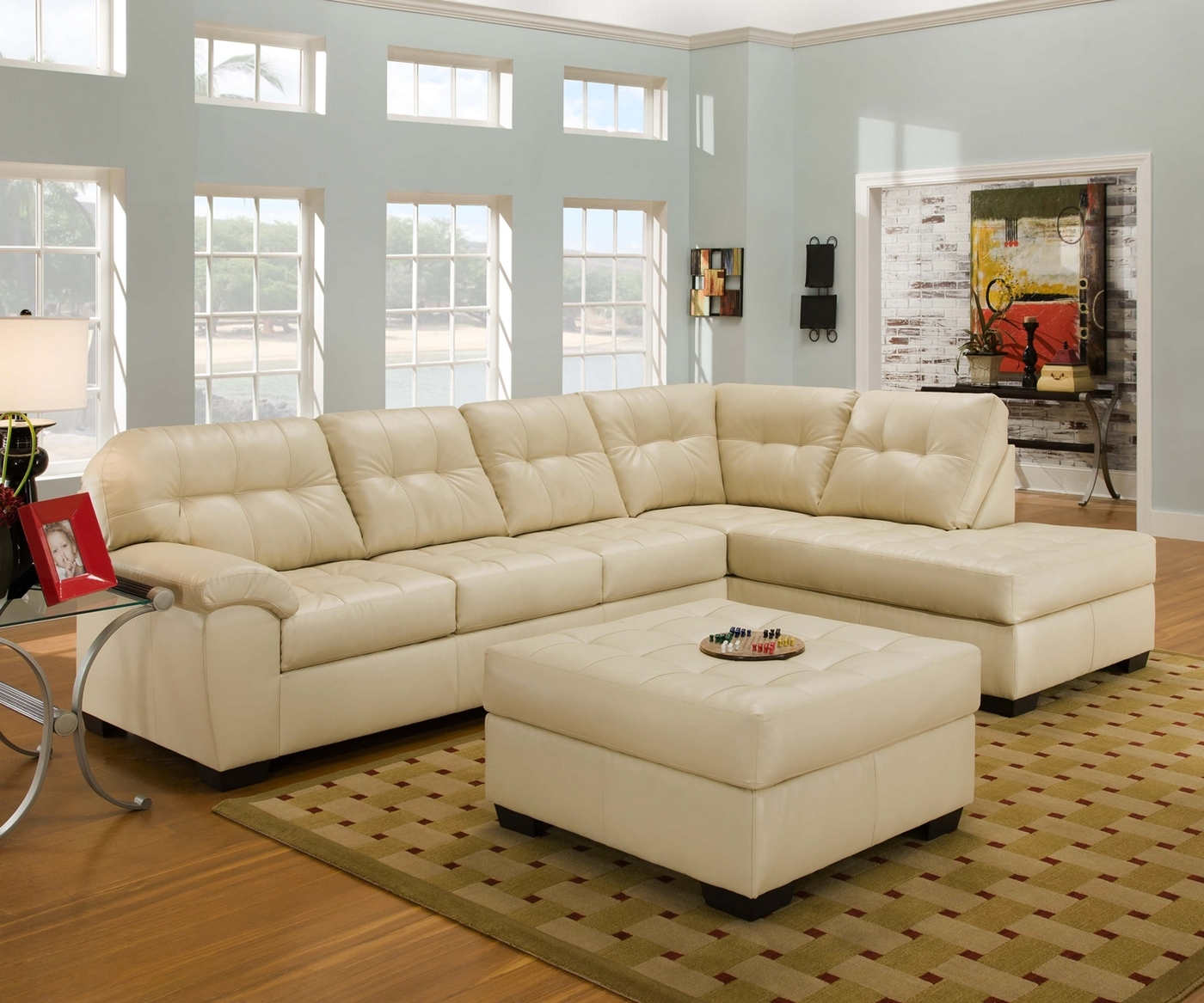 Ivory Leather Sectional Bonded Leather Sectional Sofa