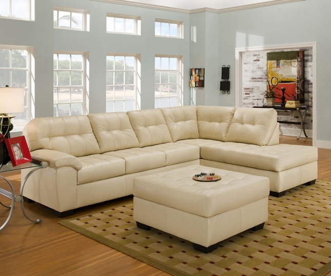 Soho Contemporary Ivory Bonded Leather Sectional w/Chaise by Simmons