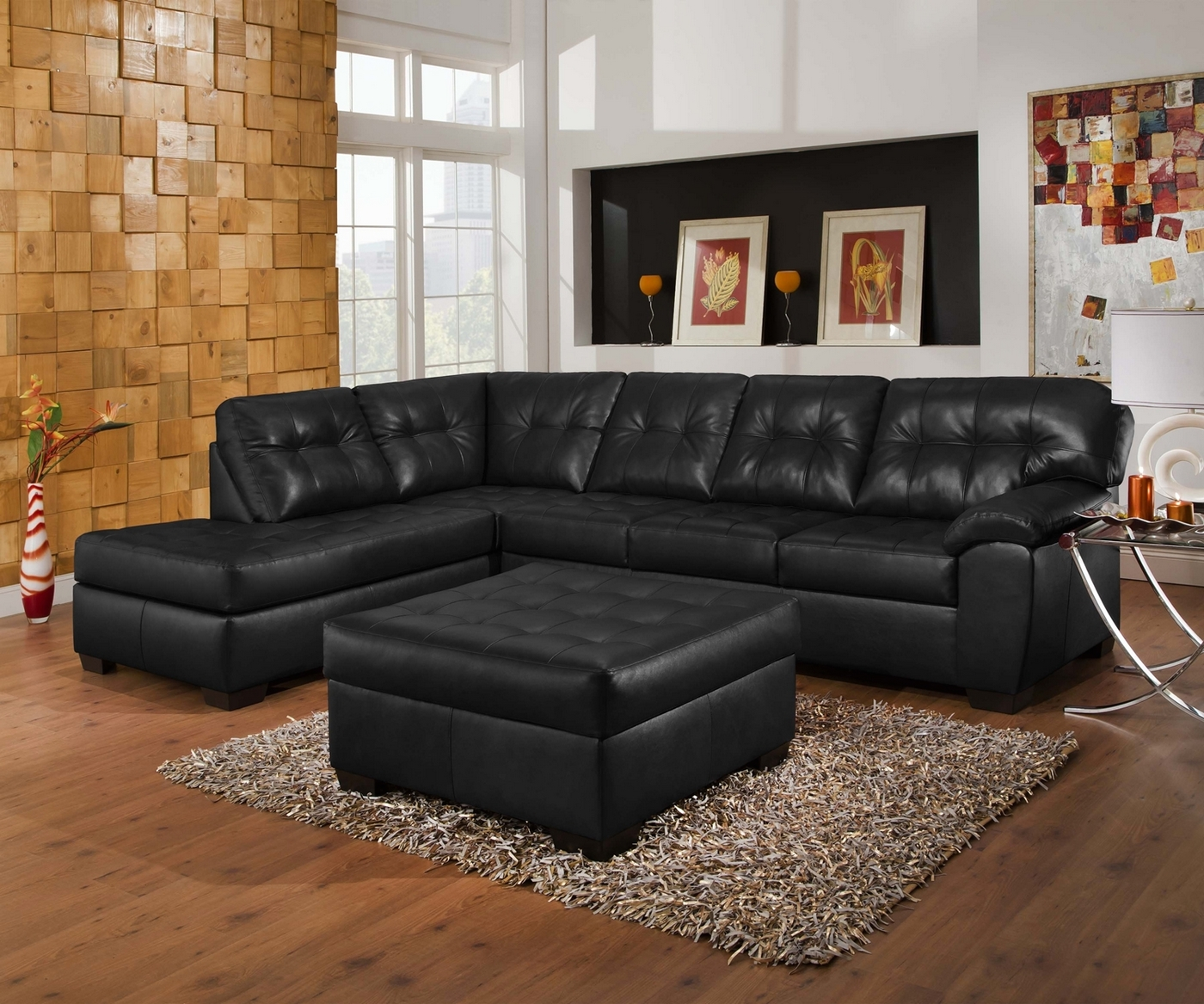 Soho contemporary onyx leather sectional sofa w left chaise for Bonded leather chaise