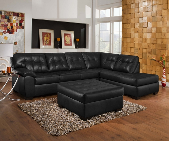 Soho Contemporary Onyx Leather Sectional Sofa W Right Chaise