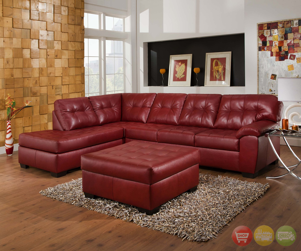 soho contemporary red bonded leather sectional sofa left chaise simmons