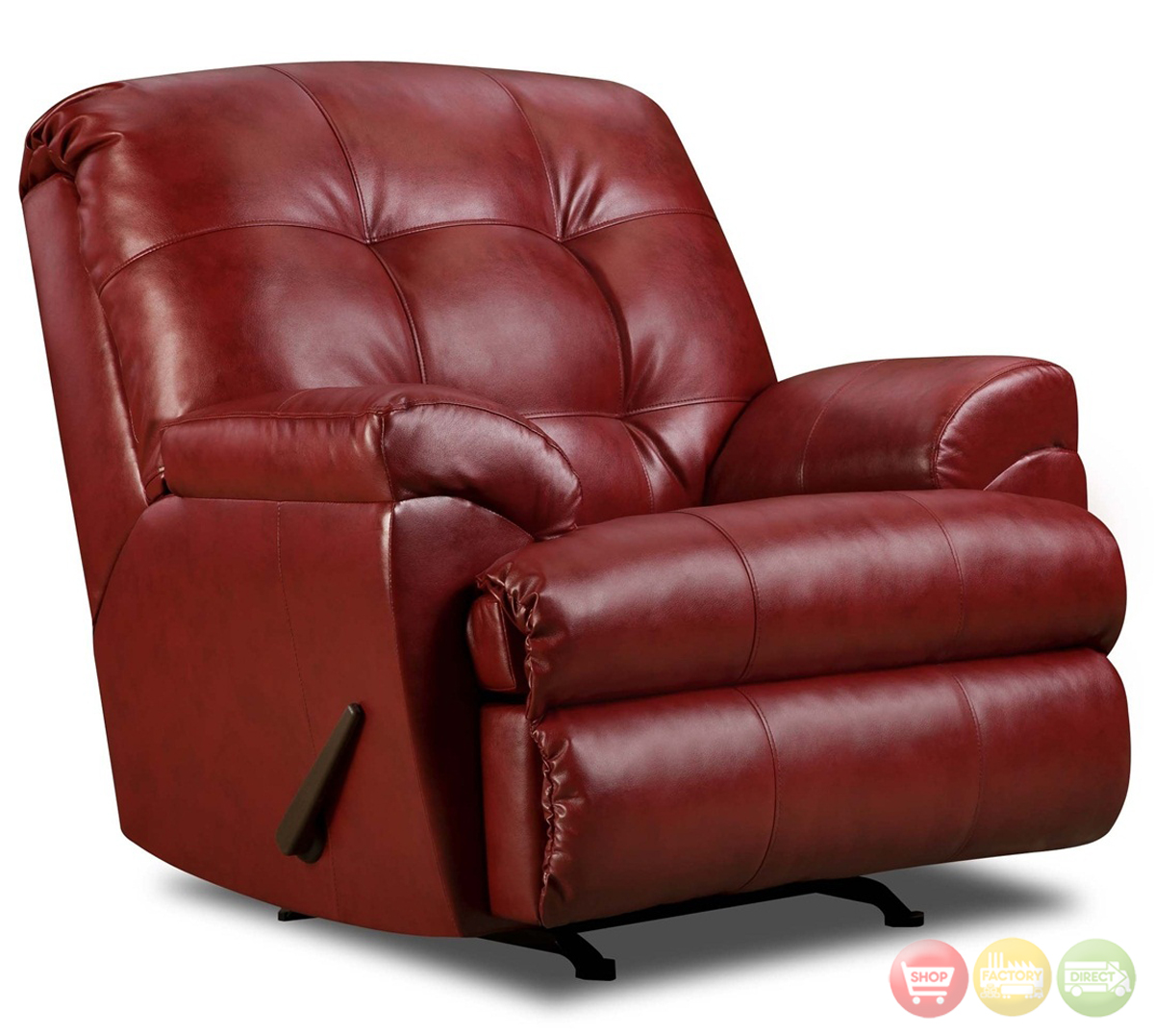 Red sectional red bonded leather sofa shop factory direct for Bonded leather sectional with chaise