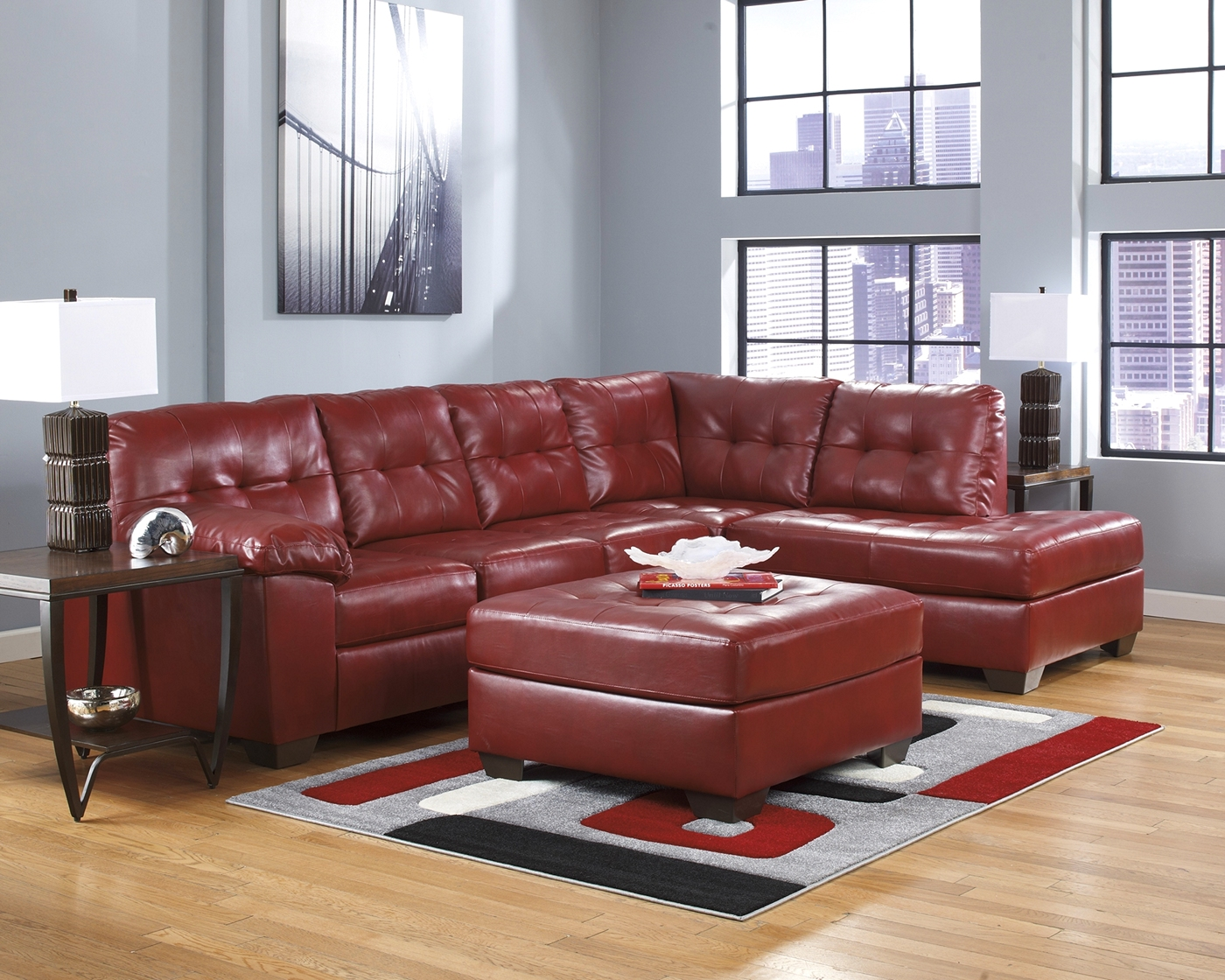 Soho Contemporary Red Bonded Leather Sectional Sofa W Right Chaise