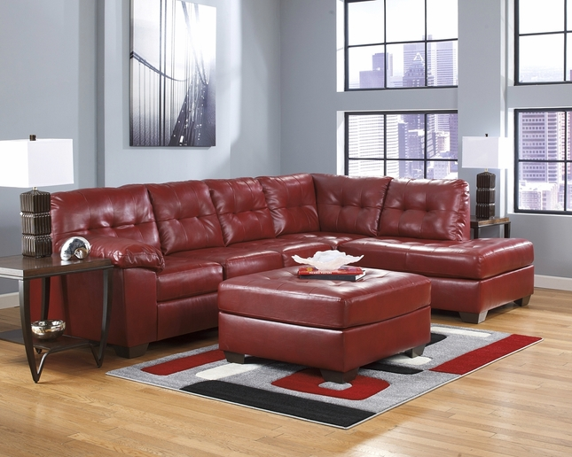Soho Contemporary Red Bonded Leather Sectional Sofa w/ Chaise Ashley