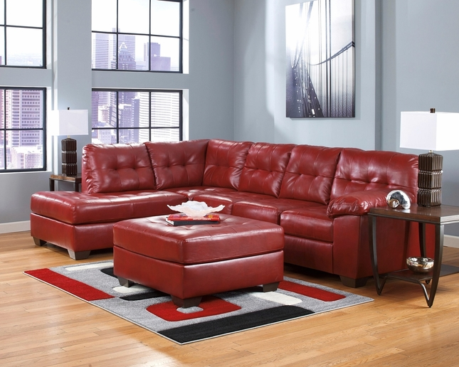 Soho Contemporary Red Bonded Leather Sectional Sofa w/Left Chaise