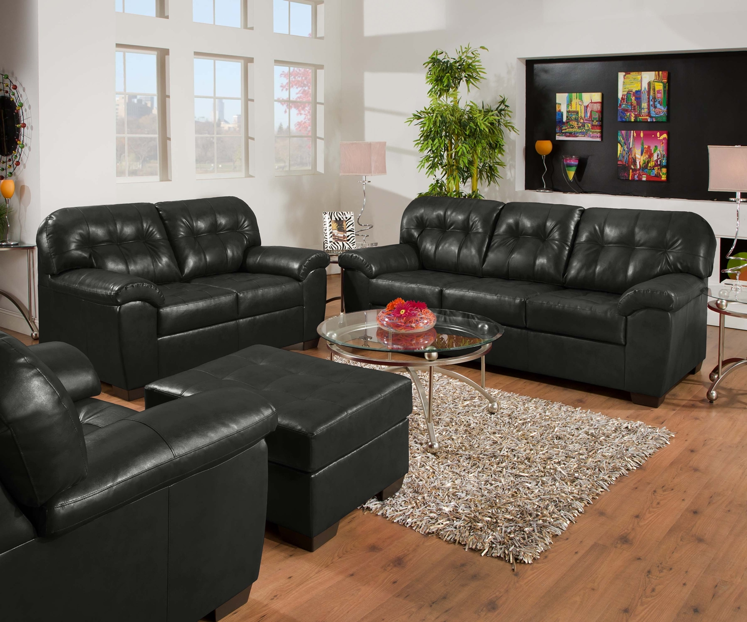 Black Living Room Furniture: Soho Onyx Black Contemporary Tufted Bonded Leather Living