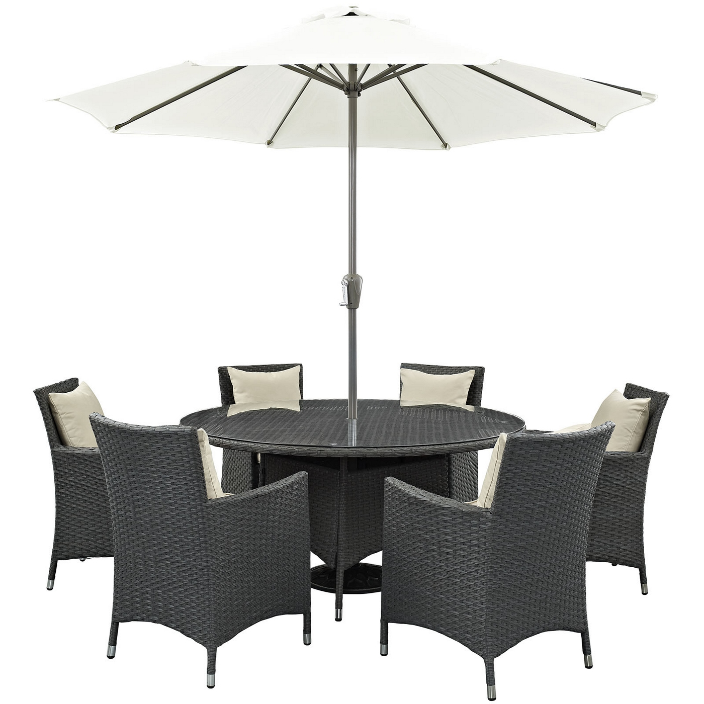 Sojourn 8 Piece Rattan Outdoor Patio Sunbrella Round Dining