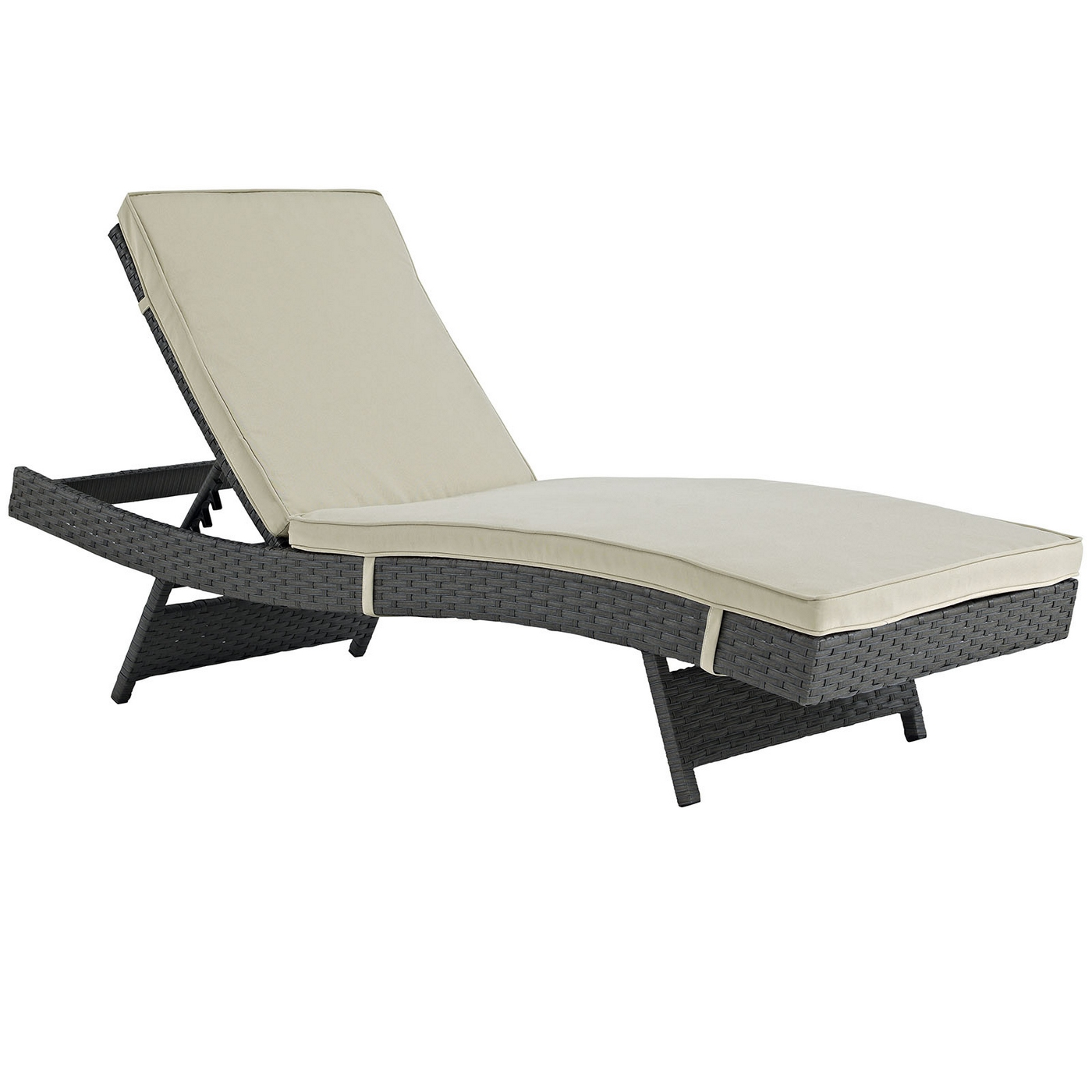 Sojourn modern outdoor patio sunbrella chaise w cushion for Chaise cushions cheap