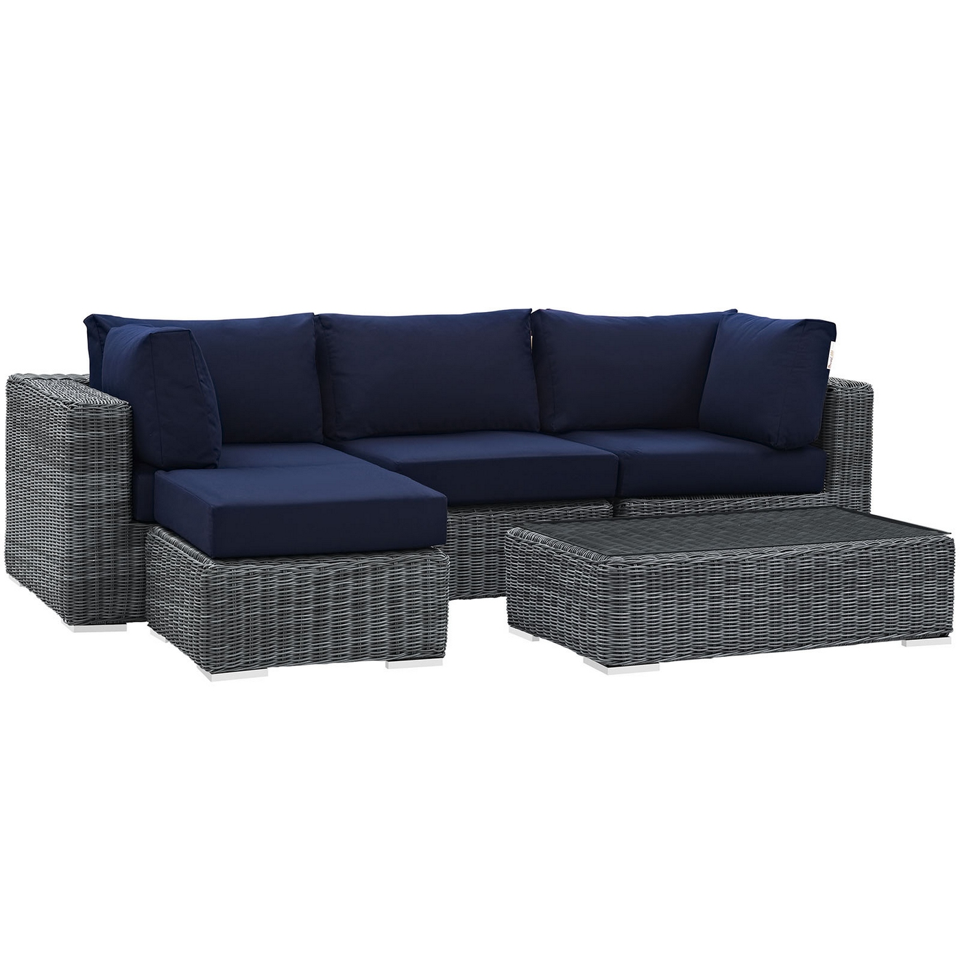Magnificent Details About Summon Rattan 5 Piece Patio Sunbrella Sectional Sofa Set W Cushions Navy Blue Cjindustries Chair Design For Home Cjindustriesco
