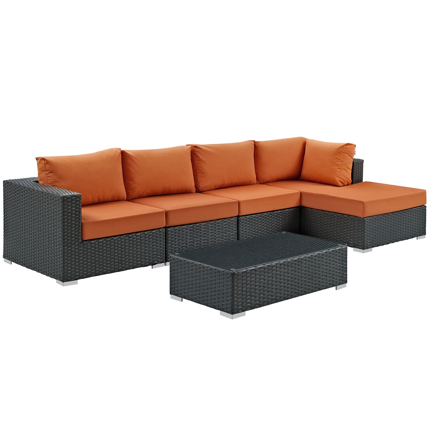 Image Is Loading Sojourn Rattan 5 Piece Outdoor Patio Sunbrella Sectional