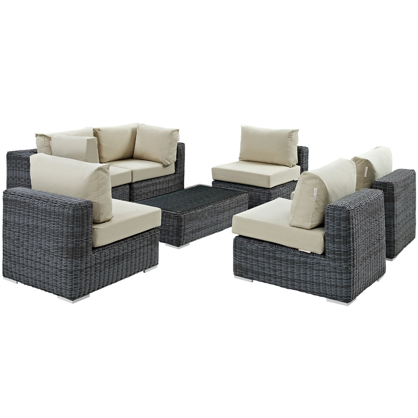 Amazing Summon Rattan 7 Piece Outdoor Sunbrella Sectional Sofa Set W Cjindustries Chair Design For Home Cjindustriesco