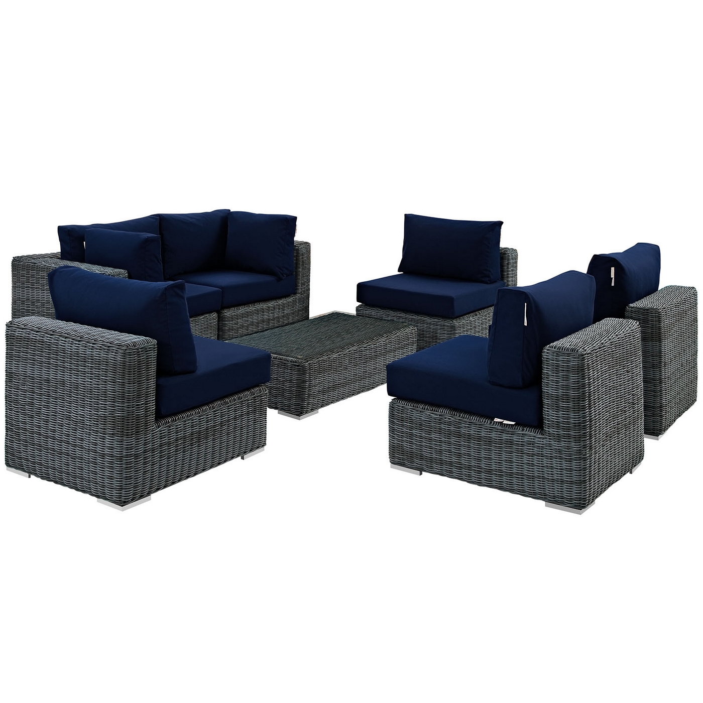 Pleasant Details About Summon Rattan 7 Piece Patio Sunbrella Sectional Sofa Set W Cushions Navy Blue Cjindustries Chair Design For Home Cjindustriesco