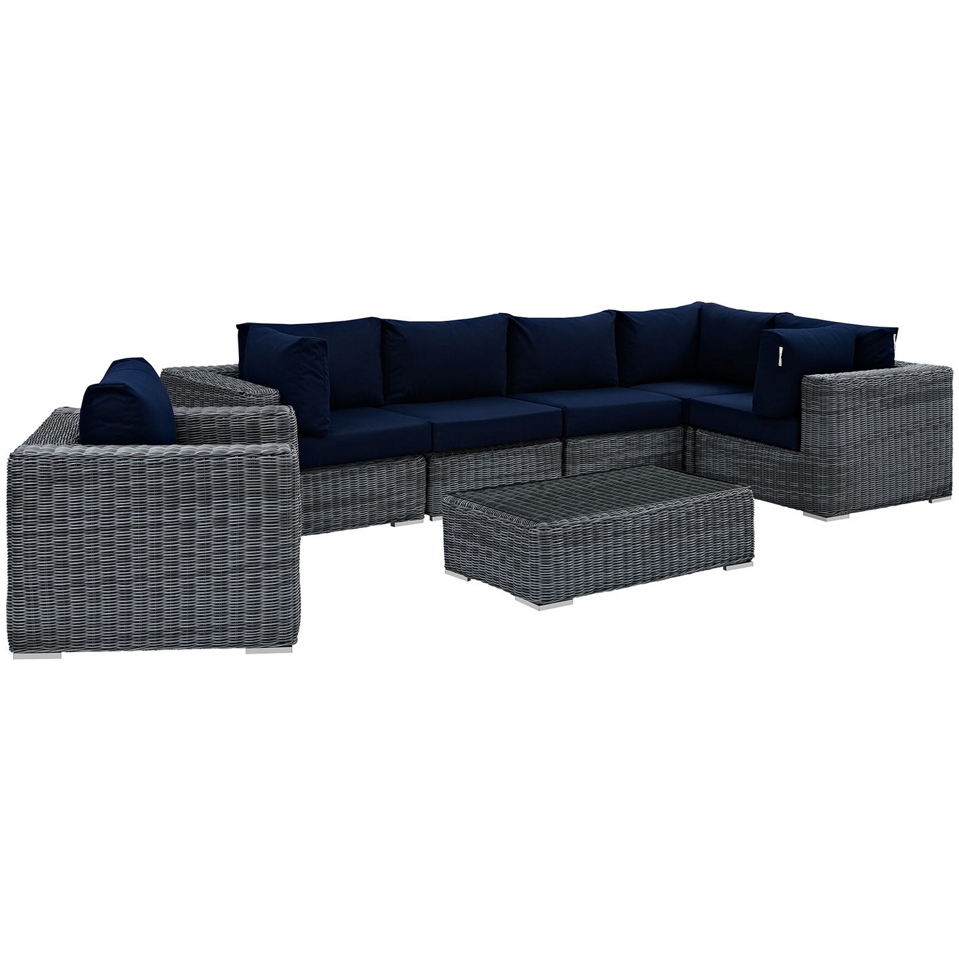 Terrific Details About Summon Rattan 7 Piece Patio Sunbrella Sectional Sofa Set W Cushions Navy Blue Cjindustries Chair Design For Home Cjindustriesco