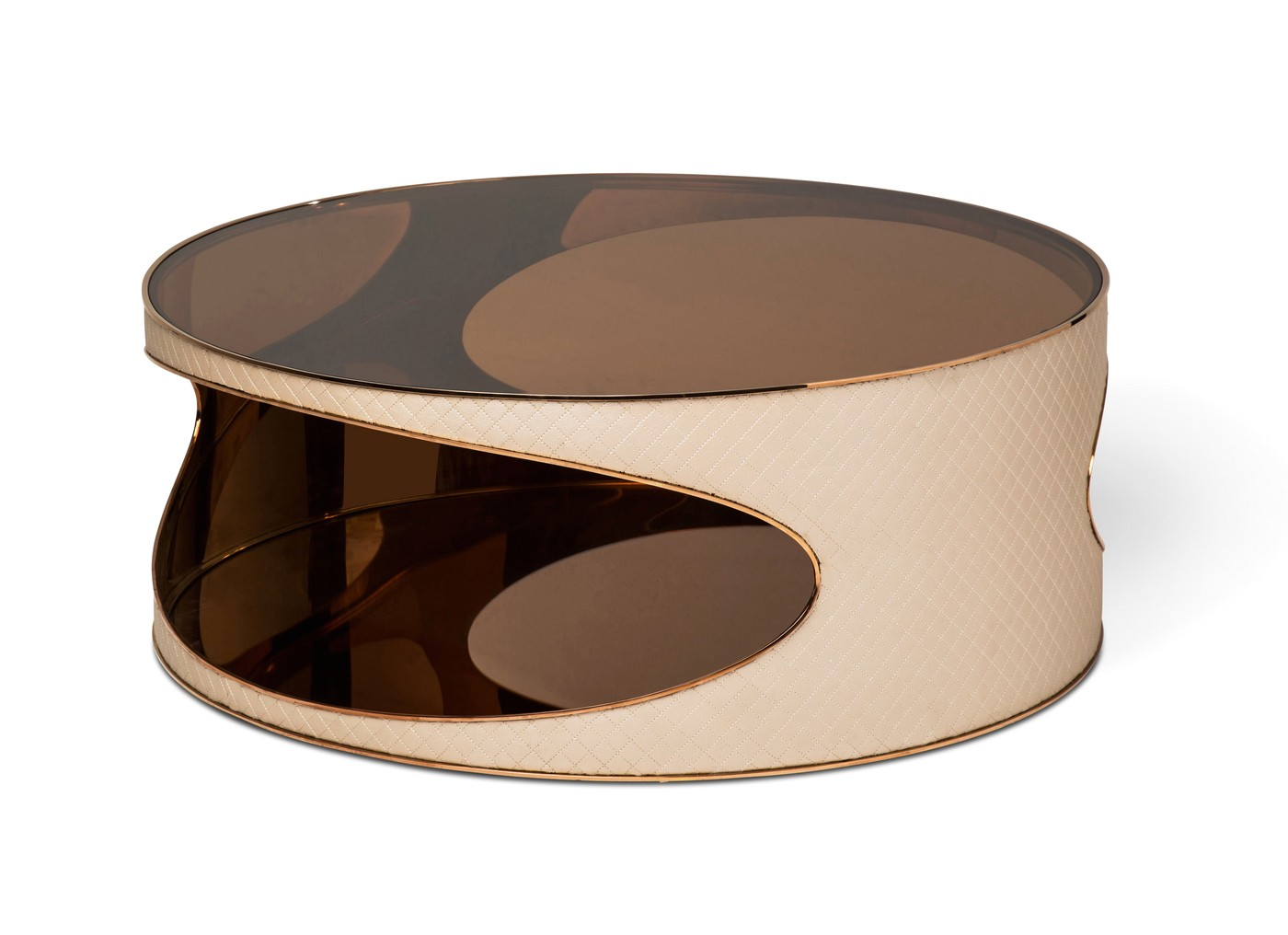 Solar Eclipse Futuristic Round Upholstered Coffee Table In Rose Gold