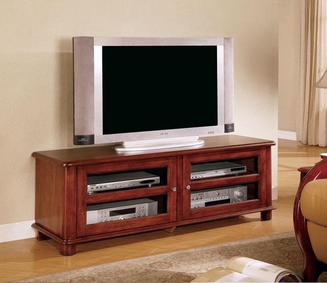Solid wood cherry finish tv stand entertainment center coaster Wood entertainment center