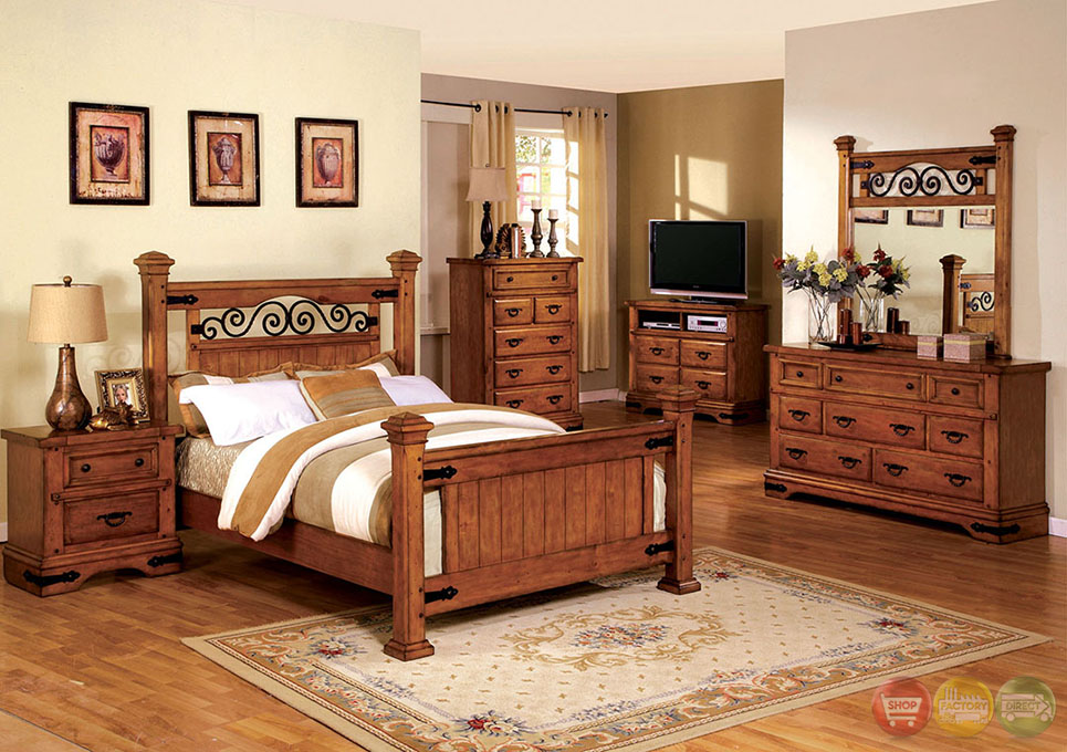 Sonoma country american oak poster bedroom set with rod for American furniture bedroom furniture
