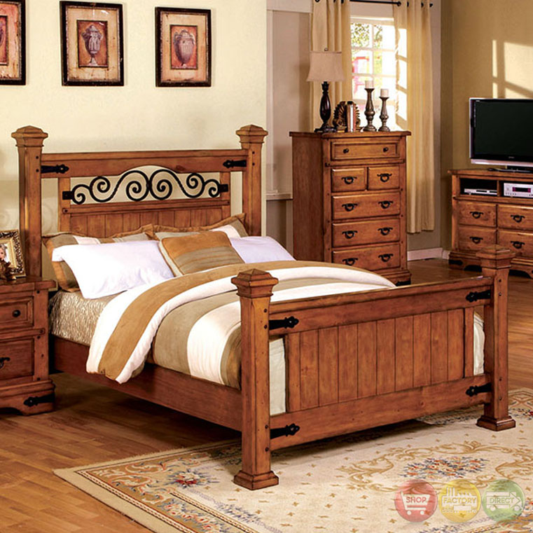 Sonoma country american oak poster bedroom set with rod for Country bedroom furniture