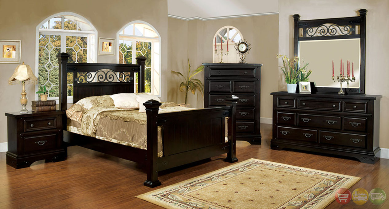sonoma country espresso poster bedroom set with rod iron design cm7496ex. Black Bedroom Furniture Sets. Home Design Ideas