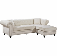 Sophia Button Tufted Cream Velvet Nailhead Sectional Sofa w/Turned Wooden Legs