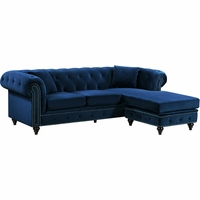 Sophia Button Tufted Navy Velvet Nailhead Sectional Sofa with Turned Wooden Legs