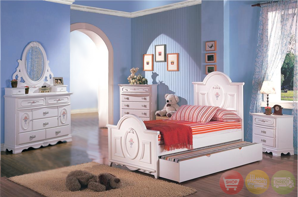Sophie girls white traditional twin bedroom set w floral panel bed free shipping for Girls bedroom furniture white
