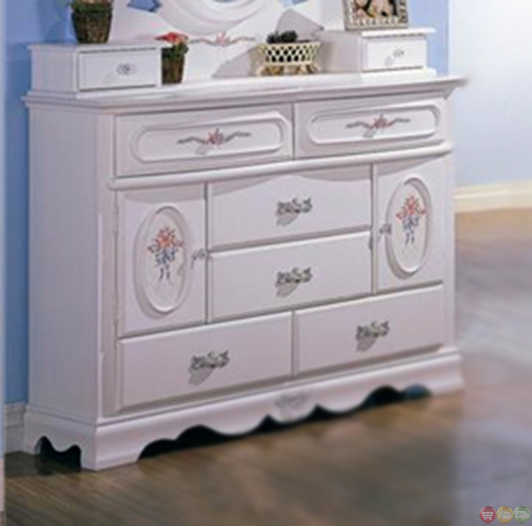 Sophie girls white traditional full bedroom set w floral - Traditional white bedroom furniture ...