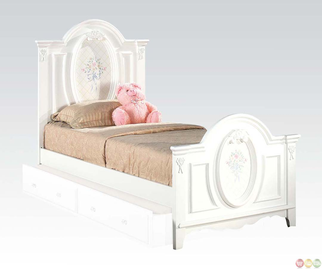 Sophie Girls White Traditional Twin Bedroom Set W Floral Panel Bed Free Shipping