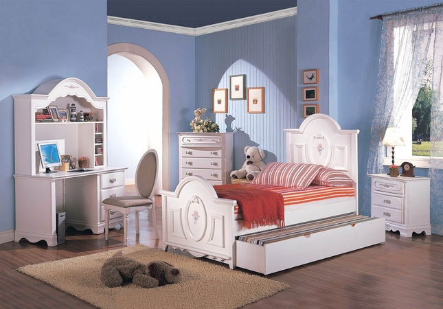 Sophie Girls White Traditional Twin Bedroom Set w/Floral Panel Bed ...