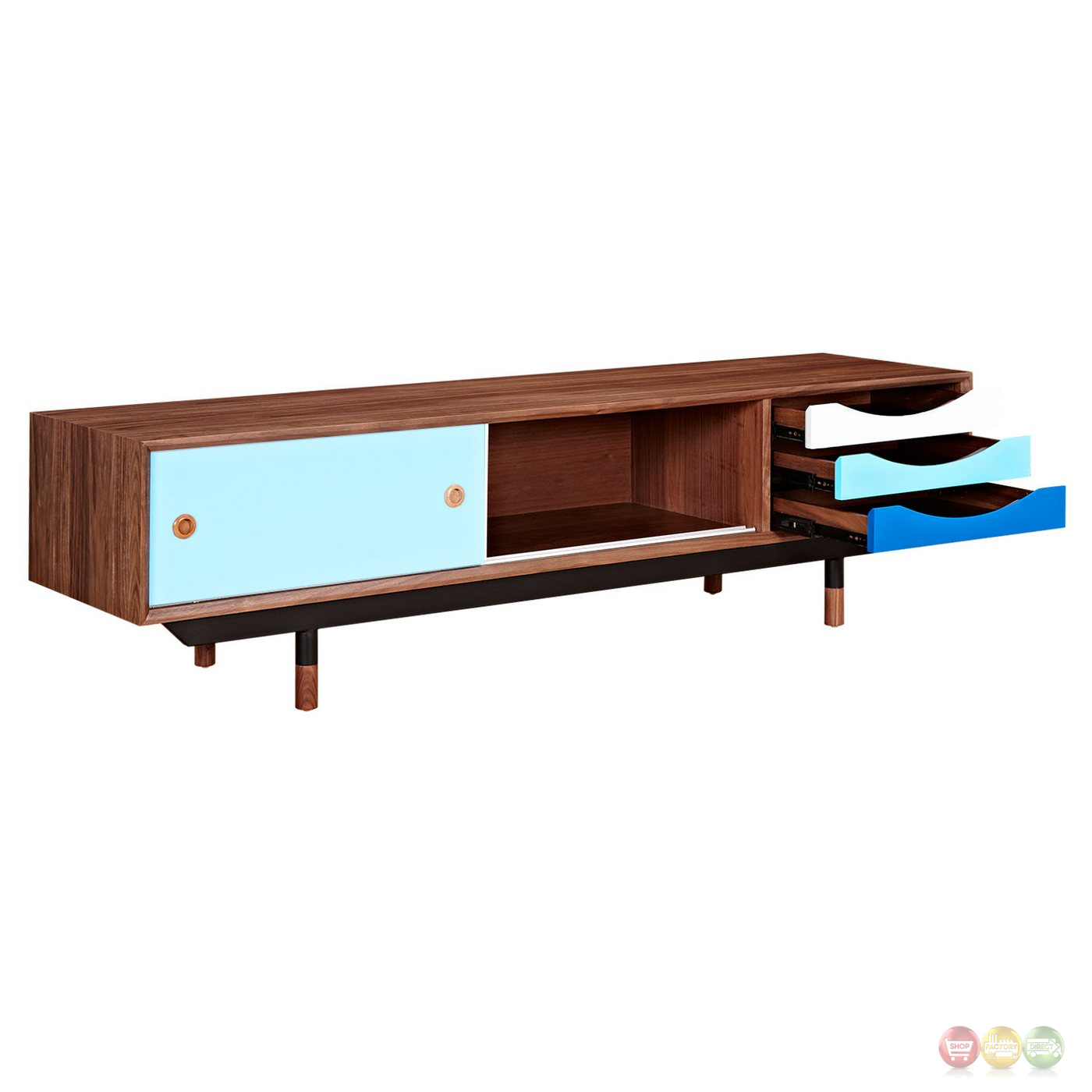 soren walnut wood tv stand with storage in blue white finish. Black Bedroom Furniture Sets. Home Design Ideas
