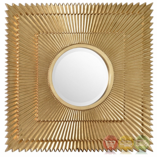 Soriano High Style Square Starbust Beveled Mirror With Bright Gold ...