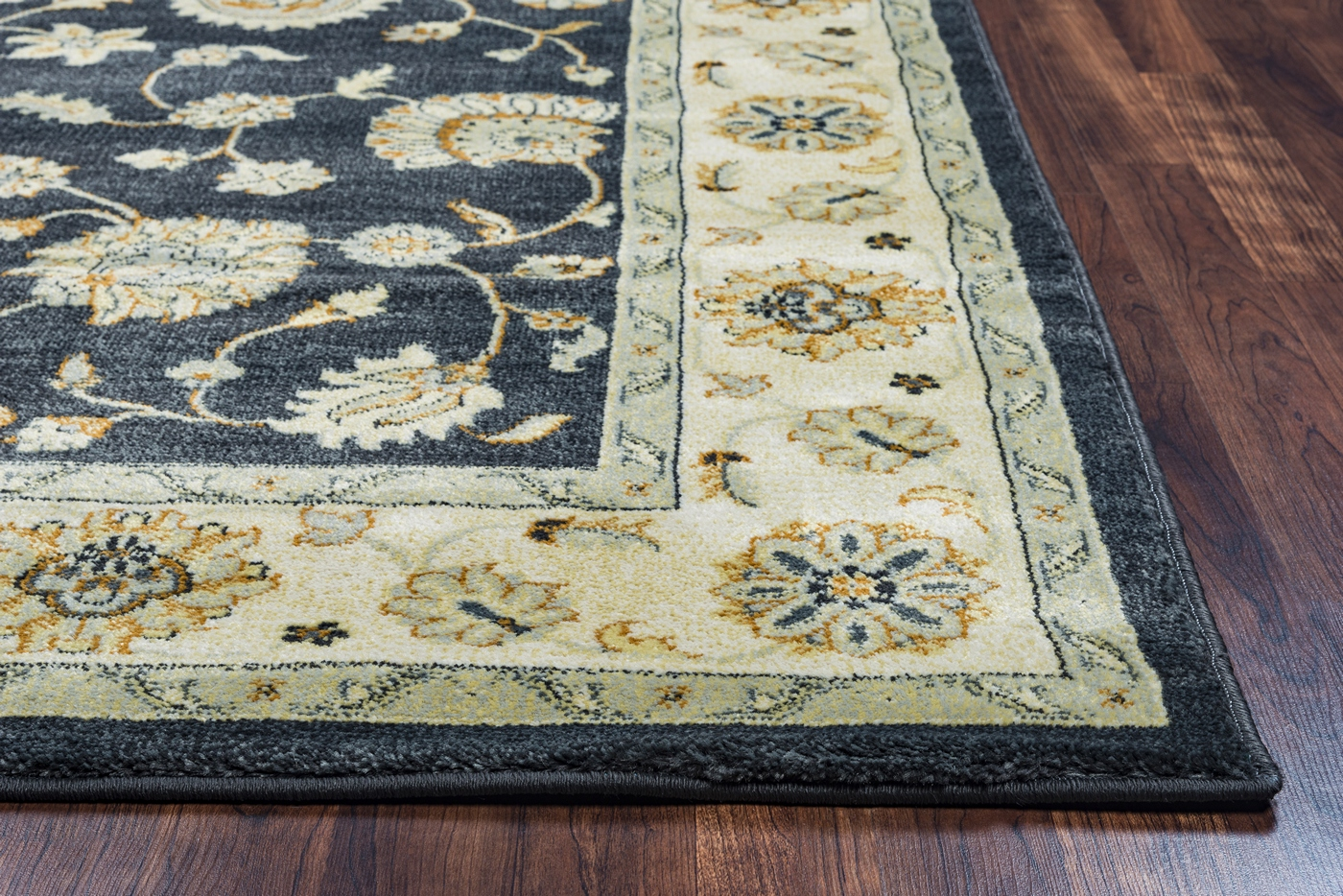 Grey Tan And Brown Area Rug: Sorrento Botanical Bordered Area Rug In Grey Tan Sage Blue