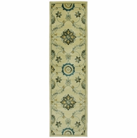 """Home Sorrento Soft Loom Runner Area Rug 2'3 x 7'7""""Tan Navy Blue Gold Green Brown"""