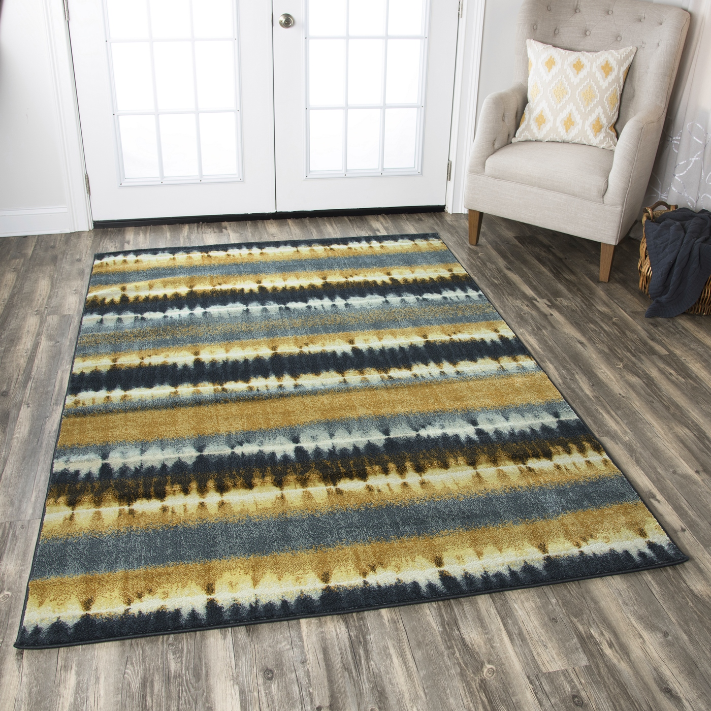 Sorrento Faded Tie-dye Area Rug In Navy Blue White Khaki