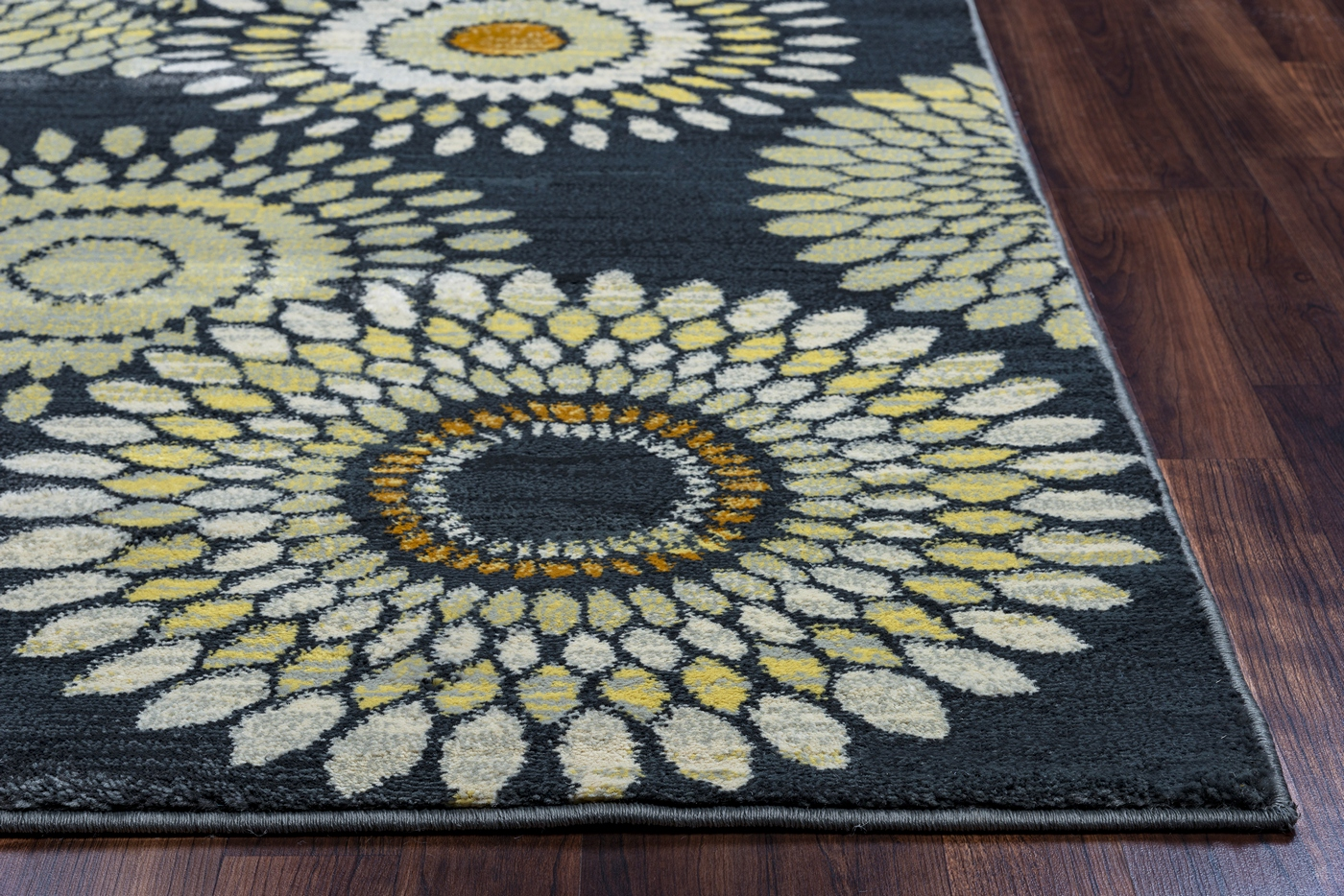 Sorrento Sunflower Medallion Area Rug In Charcoal Gray Tan