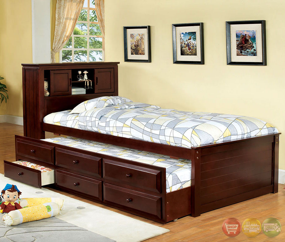 south land cherry platform captain twin bed with bookcase headboard cm7763ch. Black Bedroom Furniture Sets. Home Design Ideas