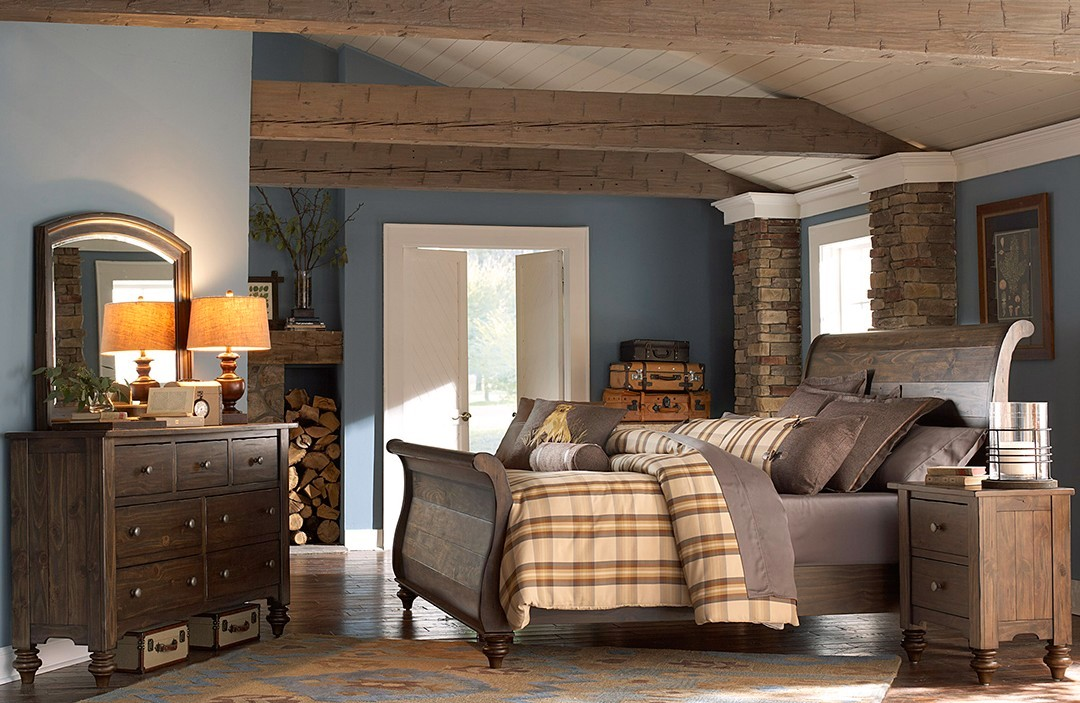 Southern Pines Solid Pine Rustic Finish Sleigh Bedroom Set