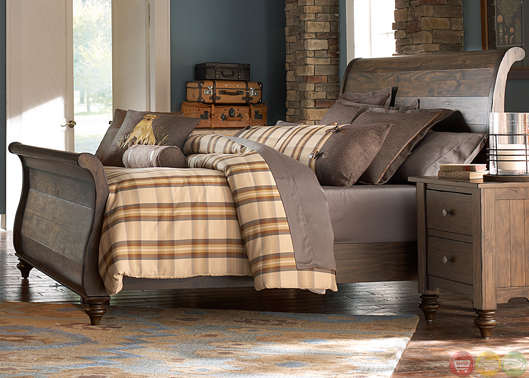 Southern pines solid pine rustic finish sleigh bedroom set - Unfinished pine bedroom furniture ...