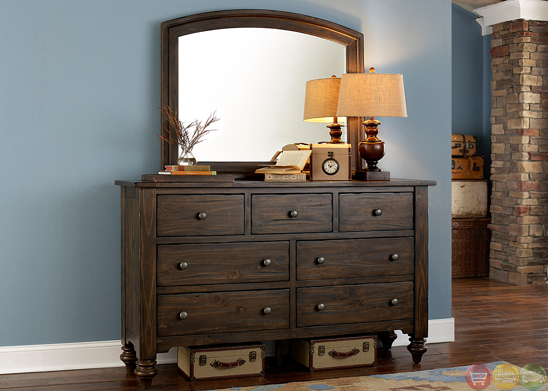 Southern Pines Solid Pine Rustic Finish Storage Bedroom Set