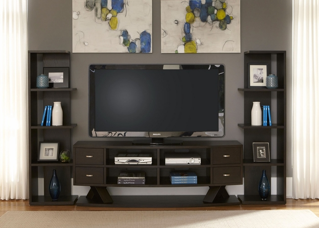 Southpark Charcoal Finish Entertainment Center with Piers
