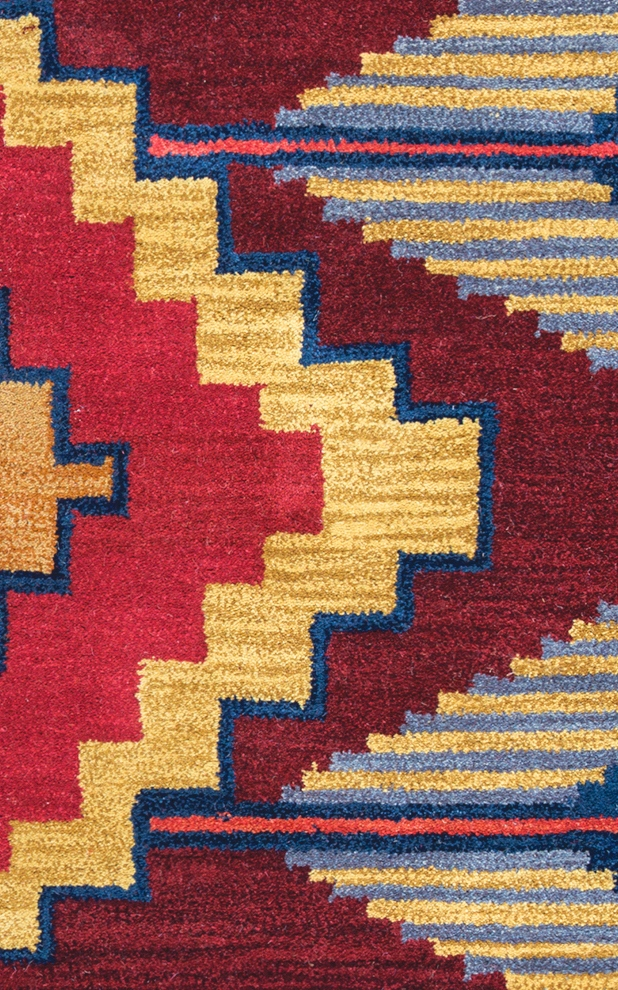Southwest Aztec Zigzag Wool Area Rug In Blue Navy Red Gold