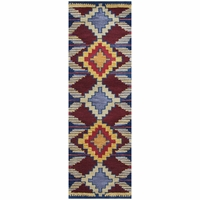 """Home Southwest Soft Wool Runner Area Rug 2'6""""x 8'Blue Navy Red Gold Brown Tribal"""
