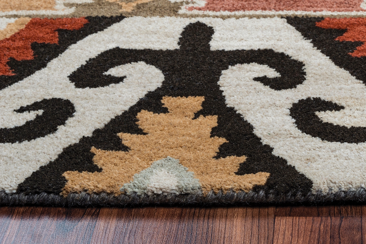 Southwest Bordered Aztec Wool Area Rug In Red Sage Gray