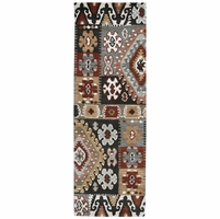 """Southwest Soft Wool Runner Area Rug 2'6""""x 8' Brown Grey White Gold Black Patch"""
