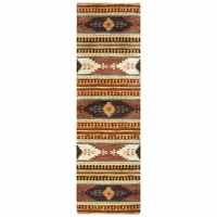 """Southwest Soft Wool Cotton Runner Area Rug 2'6""""x 8' Brown Blue Gold White Tribal"""